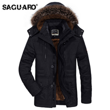 SAGUARO Plus Size 6XL Jackets Men Detachable Fur Hooded Warm Men Coats 2017 Winter Jacket Men Plus Velvet Thick Outwears Parka(China)