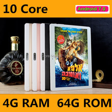 Newest 10 inch tablet PC 10 core Android 7.0 Phone call 4G LTE RAM 4GB ROM 64GB 1920x1200 IPS tablets smartphone computer MT6797(China)