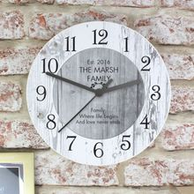Personalised Shabby Chic Large Wooden Kitchen Wall Clock New Home Wedding Gift