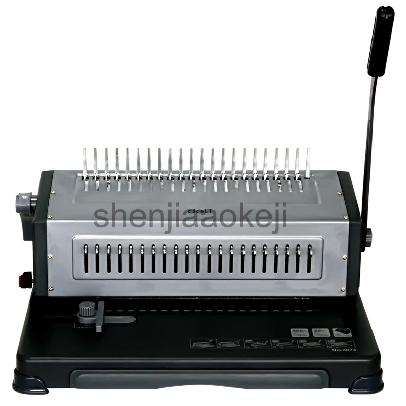 Manual Binding Machine 3874 rubber ring clip dual-use  Comb Punching Machine Office File Dedicated Bookbinding Machine