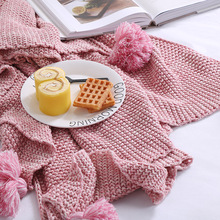 New Soft Cotton Knitted Thread Blanket for Beds Solid Color Crochet Tassel Yarn Dyed Sofa Throw Winter Air Conditioning Supply(China)