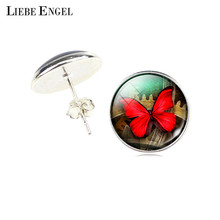 LIEBE ENGEL Red Butterfly Earrings Charms Art Picture Glass Cabochon Stud Earrings Vintage Style Silver Color Earrings for Women