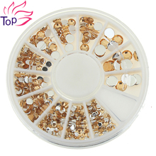 6cm*6cm Wheel 4 Sizes Khaki Rhinestones 3D Nail Art Decorations Glitter Round Acrylic Studs Supplies For Nails ZP235