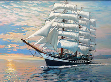 DIY Unframed Digital Oil Painting by Numbers Hand Painted Sailing Ship Pattern Print Home Decoration Craft Art Paintings 40*50cm