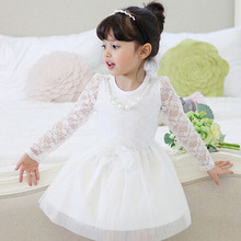 Lace Bowknot Flower Party Girl Dress Pretty Chic Flower Wedding Girls Dresses Pearl Bead Enchanting Childrens Dresses Clothes
