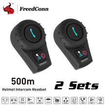 FreedConn 2 Sets 500M BT Bluetooth FM Radio Motorcycle Helmet Intercom Interphone Headset intercomunicador for Phone/GPS/MP3