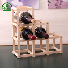 Folding 6 Grid Carbonized/Burlywood Wood Wooden Red Wine Holder Charming Wine Rack Home Kitchen Bar Wine Storage Display Stand(China)