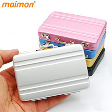 Creative Mini Portable Desk Metal Suitcase Business ID Card Holder Name Card Holder Case Box Desktop Storage Box