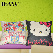 Linen Cushion Cover Hello Kitty Printed 45x45cm Home Decor for Decorative Cushions Decorative Pillow Case 1PCS/Lot