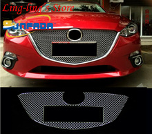 SUNFADA Stainless Steel Chrome Front Center Grille Cover Trim Racing Grills For MAZDA 3 6 AXELA ATENZA 2014-2016 Car Styling