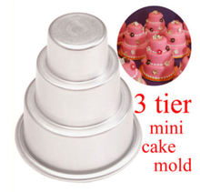Urijk 1 pc 3 Layers Cake Pudding mould Tower Shaped Aluminium Alloy Muffin Cake Decorating mould Tools DIY Candle Making mould