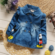 New 2016 Autumn Children Wear Coat Baby Girls Denim Jacket Classic Cartoon Lapel Single-Breasted Infant Kids Casual Outerwear(China)