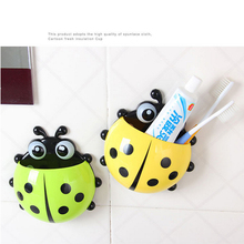 Lovely Ladybug Toothbrushes Wall Suction Bathroom Sets Cartoon Sucker Toothbrush Holder New Kitchen Chopsticks Fork Basket(China)