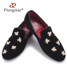 Piergitar new Bee metal men velvet shoes party and wedding men loafers Luxury brands DG men's dress shoes fashion men's flats