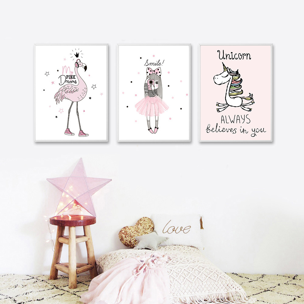 Nordic-Style-Cartoon-Girl-Unicorn-Flamingo-Poster-and-Print-Wall-Art-Canvas-Painting-Nursery-Picture-for