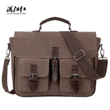 Office Man Briefcase Bag Handsome Business Men Bag Documents Canvas Shoulder Bag Back pack Rucksack 1282(China)