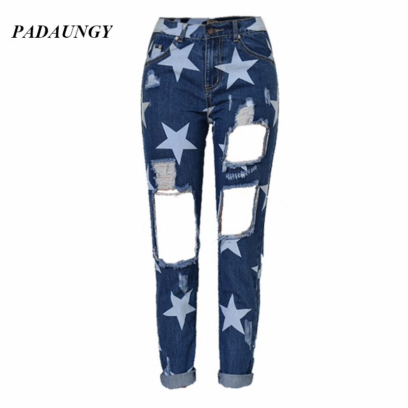 PADAUNGY Star Ripped Jeans For Women Ankle Length Jeggings Denim Trousers High Waist Straight Pants Torn Boyfriend Jean FemmeОдежда и ак�е��уары<br><br><br>Aliexpress