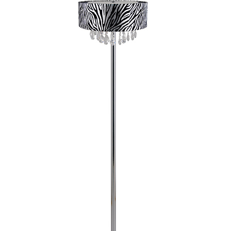 Elegant Designs Trendy Cascading Crystal and Chrome Floor Lamp with Drum Shade � Zebra