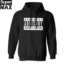 cotton blend mens sweatshirt casual Parental Advisory Explicit Content streetwear men fleece hoodies with hat H01