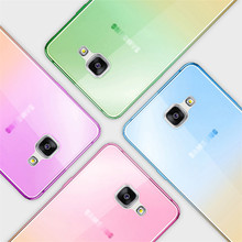 Color Gradient Case For Samsung Galaxy A3 A5 A7 A8 A9 2015 A310 A510 A710 2016 Cover TPU Silicone Ultrathin Transparent Casing