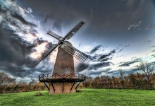 Laeacco Farm Windmill Workshop Tower Forest Landscape Photography Backgrounds Vinyl Custom Camera Backdrops For Photo Studio(China)