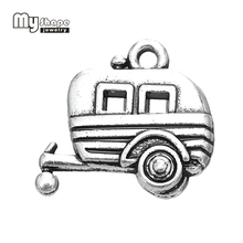 My Shape Antique Silver Plated Camping Trailer Charm Travel Pendant Zinc Alloy Metal DIY Jewelry Making Wholesale 20pcs a lot(China)