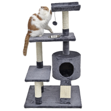 Domestic Delivery Cat Climbing Tree Pet House With Staircase Cat Scratching Post Kitten Playing Ball Bowl Cat Furniture WithBowl(China)