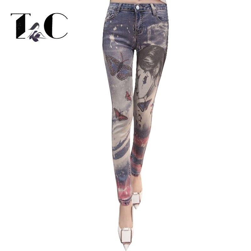 TC Skinny Jeans For Women 2017 High Waist Jeans Rhinestone Diamond Print Pencil Jeans Female Denim Pants Trousers 26-32 FT00472Îäåæäà è àêñåññóàðû<br><br>