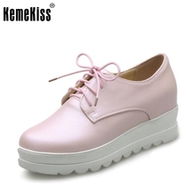 New Spring Women Casual Platform Shoes Lace Up Round Toe Black Pink White Casual Shoes Women Comfortble Ladies Shoes Size 33-43(China)