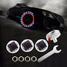 4pcs/lot Stunning Waterproof Solar Car Tuning Aas Nozzle Cap Lamp Rim Light Wind Fire Wheels Led Flash Lamp Tyre Light BE(China)