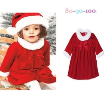 Long Sleeve Kids Clothes Girls Red Christmas Dress Baby Hat Children Clothing Sets Conjunto Toddler Girl Christmas Outfits