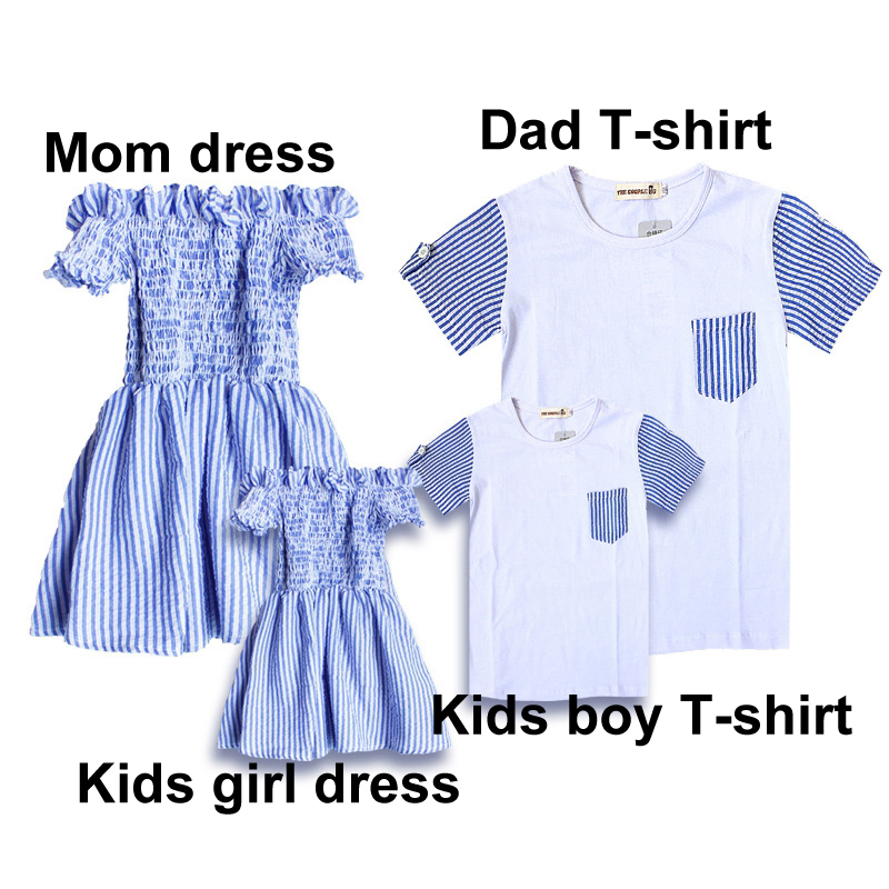 Summer-Family-Matching-Outfits-Mom-And-Daughter-Striped-Dress-Dad-And-Son-Short-T-shirt-Family (1)
