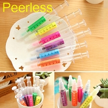Peerless 1 Pcs Cute kawaii Fluorescent Syringe Watercolor Pens Highlighters Marker Pen Korean Stationery School Supplies