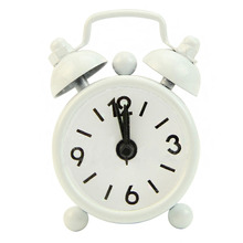 Best Mini Lovely Cartoon Round Alarm Clock white/bkye/orange/yellow/red/black/green(China)