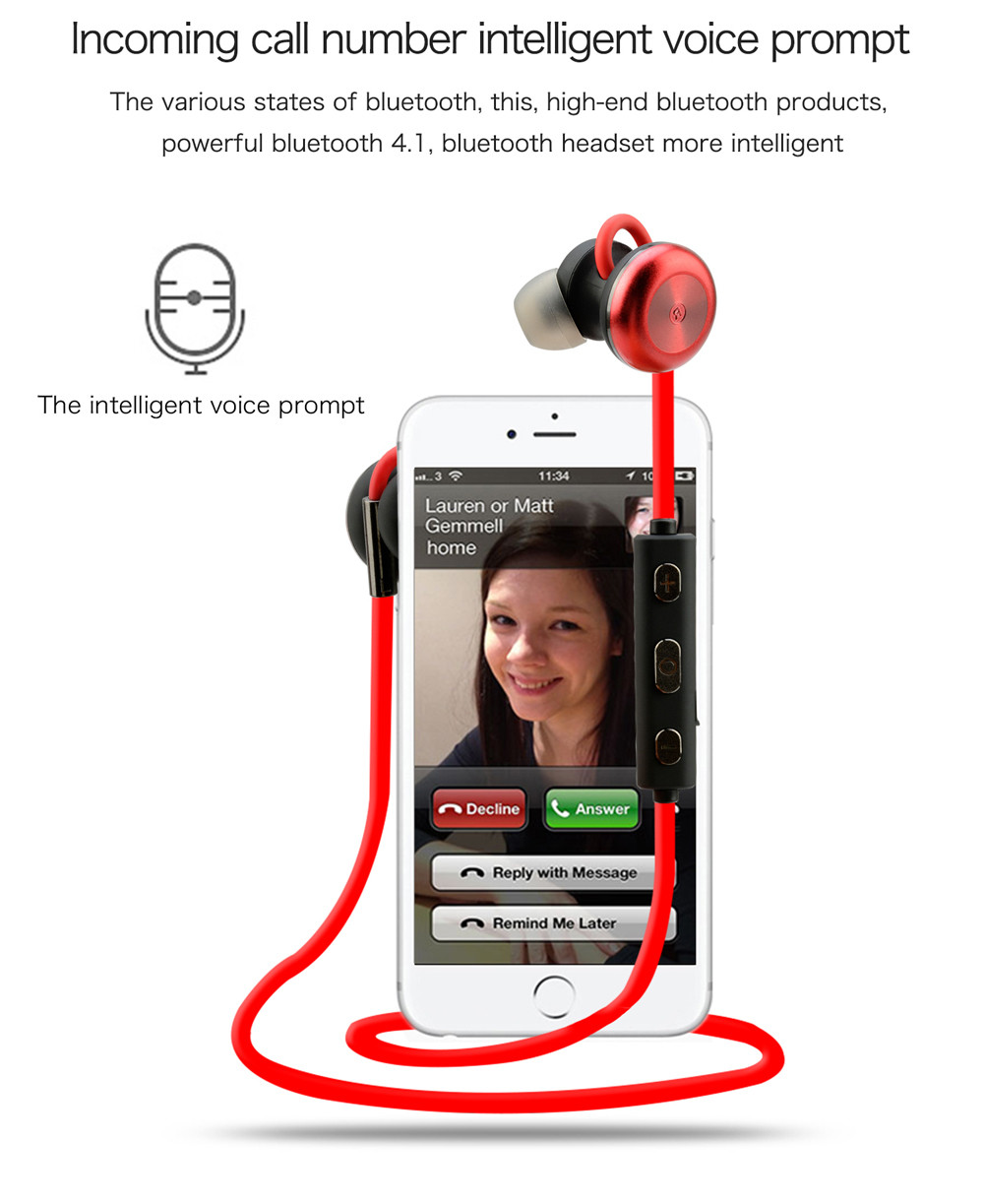 2017 New Bluetooth Earphone 4.1 Wireless Earphones with Microphone Hands Free Stereo Sports Earbuds for Android for iphone #ET1<br><br>Aliexpress