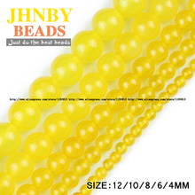 JHNBY Yellow carnelian beads Natural Stone Round Loose beads ball 4/6/8/10/12MM handmade Jewelry bracelet making accessories DIY
