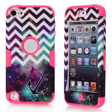 For iPod Touch 5 Case Hybrid 3 Layer Hard Case Cover Silicone Shell Case for iPod Touch Generation 5 w/Screen Protector Film