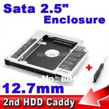 "Second 2nd Caddy 12.7mm SATA to Sata 3.0 Case SSD HDD HD 2.5"" Hard Disk Driver External Enclosure CD DVD Optical Bay Laptop"