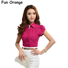 Fun Orange New Lady Office Shirt Work Wear Women's Tops Butterfly Short Sleeve Turn-Down Collar Rose Red White Women Blouse