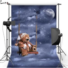 Dark Clouds Vinyl Photography Background Night Sky Bear Toy Oxford Backdrop For Children photo studio Free Shipping