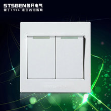 The electrical Open wall switch panel A6 steel elegant white two open two open double double control switch socket