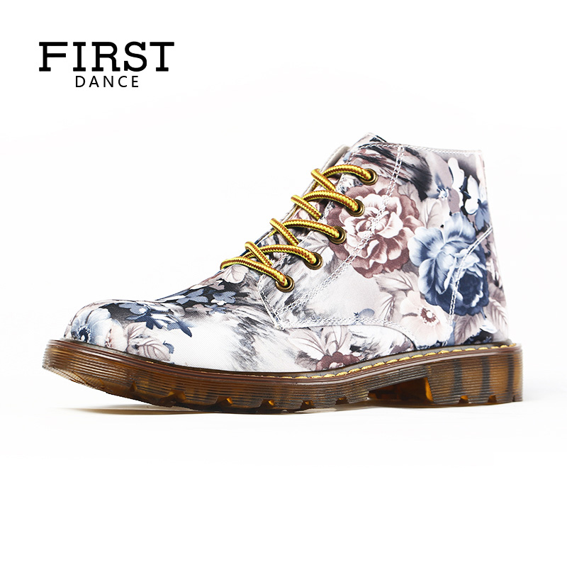 FIRST DANCE White Women Shoes Oxfords Dr Martins Ladies Flats Casual Luxury Brand Shoes Woman Custom Printed Female Ankle Shoes<br>