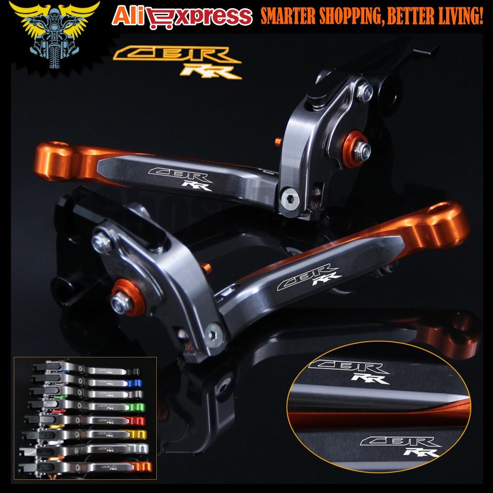 With new Logo(CBR RR) Orange+Titanium Motorcycle Folding Extendable CNC Brake Clutch Levers For Honda CBR929RR 2000-2001<br>