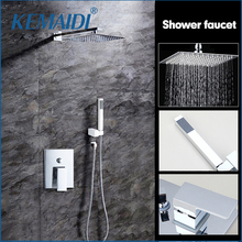 "KEMAIDI High Quality Bathroom Wall Mounted 8"" Rain Shower Head Valve Mixer Tap W/ Hand Shower Rainfall Shower Mixer Faucet Set(China)"