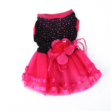 Pet Dog Cat Bling Red Black Tutu Dress Lace Dress Puppy Clothes Dog Party Dress Large Party Dress for Pets Girl
