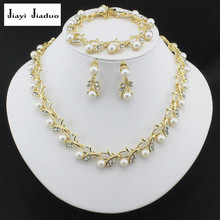 jiayijiaduo Classic Imitation Pearl Gold-color jewelry set for women Clear Crystal Top Elegant Party Gift Fashion Costume