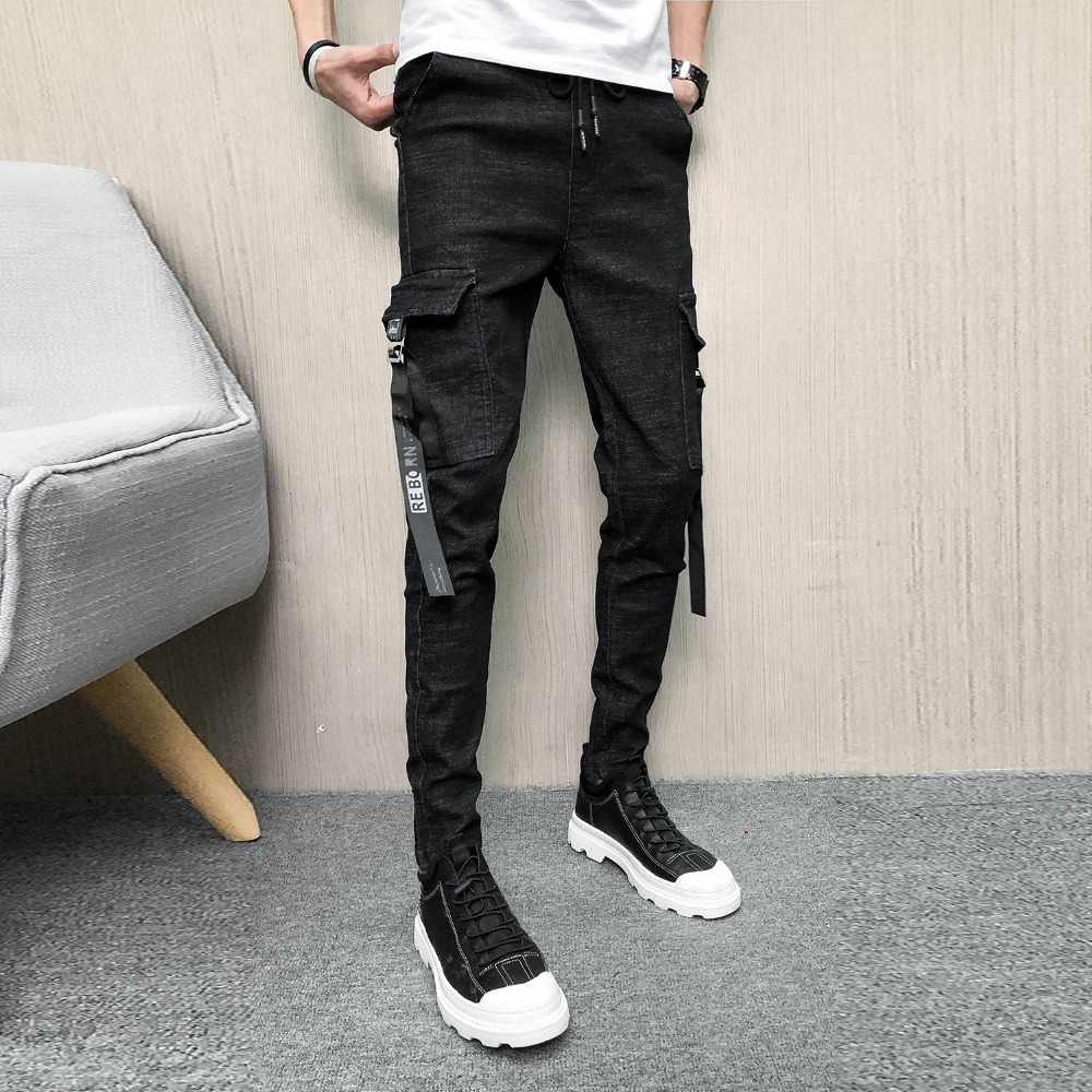 Brand New Jeans Men Fashion 2019 Spring Denim Cargo Pants Men Slim Fit Side Pocket Casual Mens Slim Fit Jeans All Match 33-28