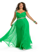 Free Shipping Indian Style Floor Length Sweetheart Green Chiffon Plus Size Prom Dresses With Beadings
