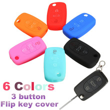 Silicone 3 Button Flip Remote Key Fob Case Cover For Audi A2 A3 A4 A6 A8 Black Red Pink Blue Night Glow Blue Orange