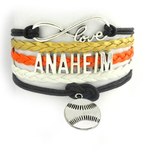Infinity Love anaheim hockey baseball Sports Team multi layers Handmade wristband Customize friendship wrap bangle bracelet